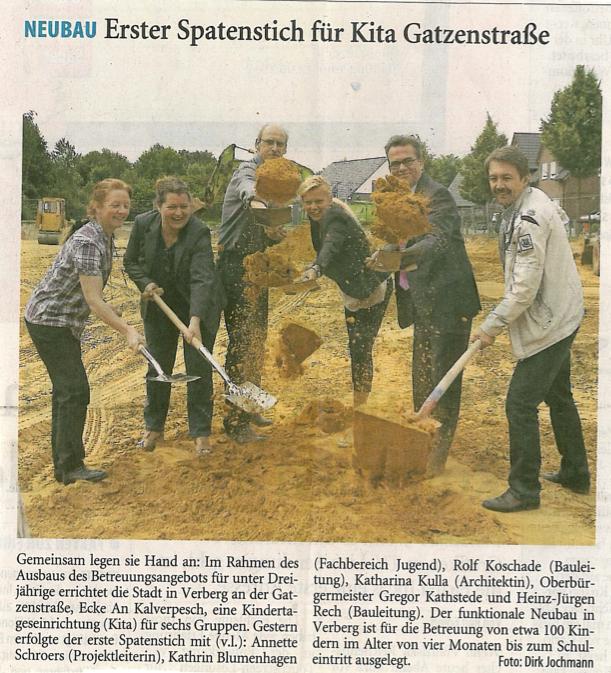 Bild von Neubau Erste Spatenstich für Kita Gatzenstrasse