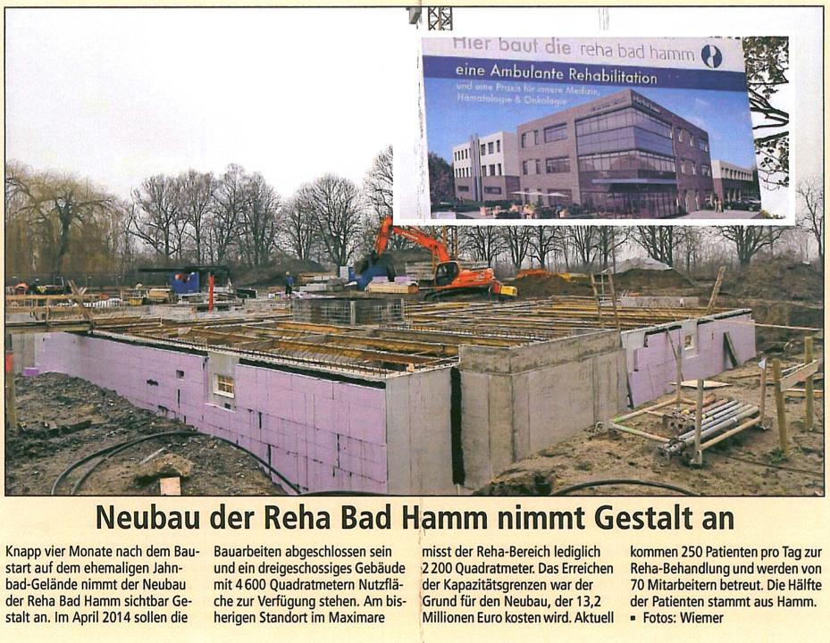 Bild von Neubau der Reha Bad Hamm nimmt Gestalt an